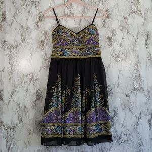 Oleg Cassini Sleeveless Batik Print Dress 4 D115
